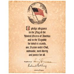 HARRY TRUMAN Signed American Flag Souvenir Copy of the Pledge of Allegiance