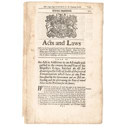 1749 Massachusetts Bay Printed-Acts + Laws Passed - Important Numismatic Content