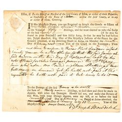 1757 CODFISH II Pence British Tax Revenue Stamped Document Scott RM-2, ERP-2