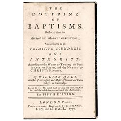 1759 BENJAMIN FRANKLIN Printed Pamphlet, Philadelphia: THE DOCTRINE OF BAPTISMS