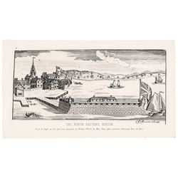 Paul Revere Jr. Engraved Reprint (1762): His Majestys North-Battery, in Boston