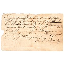 Colonial Currency, NY March 9, 1780 Receipt for Five Bundles New York Currency
