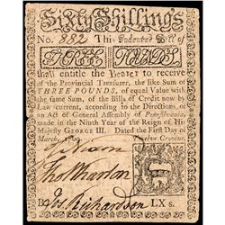 Colonial Currency, Rare 1769 Pennsylvania 3 Pounds Note, Signed by JOHN NIXON!
