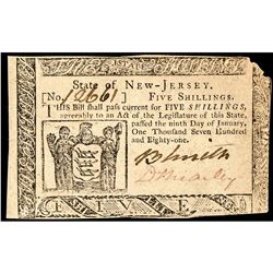 Colonial Currency, New Jersey. January 9, 1781. 9d. Signed By David Brearey. CU