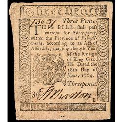 Colonial Currency Pennsylvania June 18, 1764 3d BENJAMIN FRANKLIN Printed