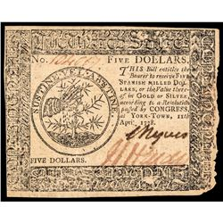 Continental Currency April 11, 1778 Yorktown Issue Five Dollars PMG Choice VF-35
