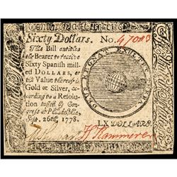 Continental Currency, Jan. 14, 1779 $60 Notes Genuine + Contemporary British CTF