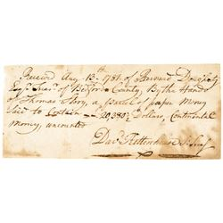 1781 DAVID RITTENHOUSE Signed Revolutionary War Receipt for CONTINENTAL CURRENCY