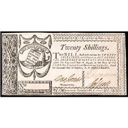 State of Georgia. October 16, 1786. Twenty Shillings. PCGS graded Very Fine-30.