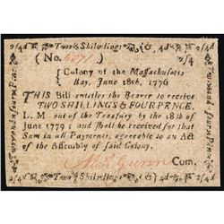 Colonial Currency, MASS. June 18, 1776, 2s4d Choice Crisp EF+ to About Unc.