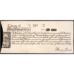 Colonial Currency Note, NH, June 20, 1775, 20s REPRINT Choice About Uncirculated