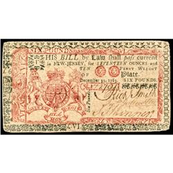 Colonial Currency New Jersey December 31, 1763 Blue and Red Six Pounds Choice VF