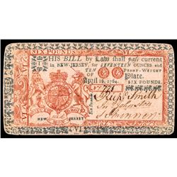 Colonial Currency New Jersey April 16, 1764. Six Pounds. Choice VF to EF