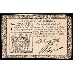 Colonial Currency, New Jersey, January 9, 1781, 1s6d, PMG certified AU-55