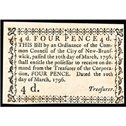 Colonial Currency, NJ. March 10 1796. City of New Brunswick. Choice Crisp Unc.