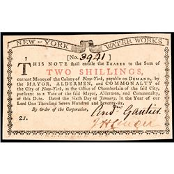 Colonial Currency, New York January 6, 1776 2s NEW YORK WATER WORKS GEM UNC.
