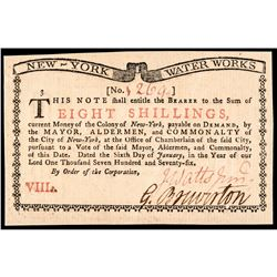 Colonial Currency, New York January 6, 1776 NEW YORK WATER WORKS Gem Crisp Unc!