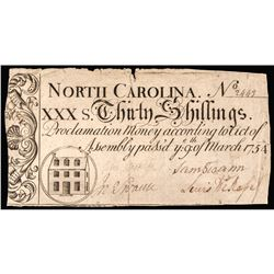 Colonial Currency Note, NC. March 9, 1754 Thirty Shillings PCGS Very Fine-30