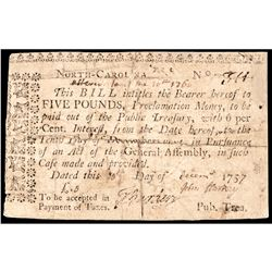 Colonial Currency, North Carolina. November 21, 1757 Act Handwritten Date Rarity