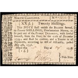 Colonial Currency Note, NC, May 4, 1758, 20 Shillings. Choice Very Fine Rarity