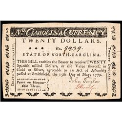 Colonial Currency, NC. May 15, 1779 $20 Peace on Honourable Terms Motto, Ch. EF