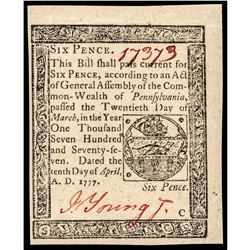 Colonial Currency, Penn. April 10, 1777 Six Pence PMG About Uncirculated-55 EPQ