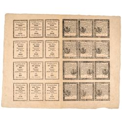 Colonial Currency, PA April 10, 1777, uncut sheet