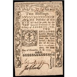 Colonial Currency, RI, Nov. 6, 1775. Two Shillings. PMG Fine-12