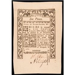 Colonial Currency, Rhode Island. May 1786 6d Jumbo Margins, PMG Gem UNC-65 EPQ