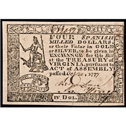 Colonial Currency, VA. October 20, 1777 Four Dollars Choice Crisp Uncirculated