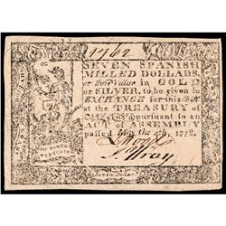 Colonial Currency, Virginia. May 4, 1778. Seven Dollars. Choice Crisp EF