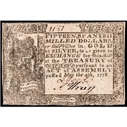 Colonial Currency, Virginia. May 4, 1778. 15 Dollars. Printed Date. Choice EF