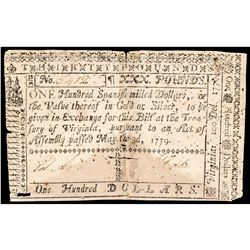 Colonial Currency, Virginia May 3, 1779 One Hundred Dollars / Thirty Pounds Note