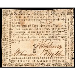 Colonial Currency, VA, October 16, 1780 $400 Clothing the Army Issue Rare Note