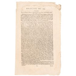 1779 Continental Congress Printed Broadsheet Resolve For Raising 2,000 Militia