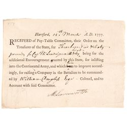 1777 Revolutionary War Pay Bonus Document for SPY Capt. ELI LEAVENWORTH