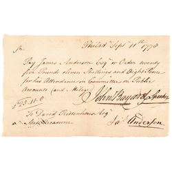 1778 Revolutionary War JOHN BAYARD Speaker Signed Pennsylvania Pay Order