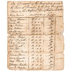 1779 Revolutionary War Rowley, Massachusetts Soldiers Army Bounties Payroll