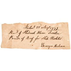 1779 Historic Transport Ship HECTOR Revolutionary War Supplies Receipt