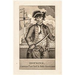 1770s Revolutionary War Engraving of Continental Navy Commander Esek Hopkins