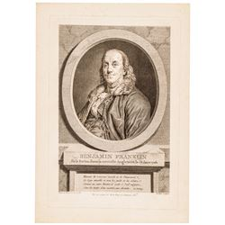 1778 Benjamin Franklin Copper-Plate Engraving by Juste Chevillet After Duplessis