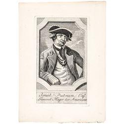 c. 1779 General Israel Putnam Revolutionary War French Copper Plate Engraving