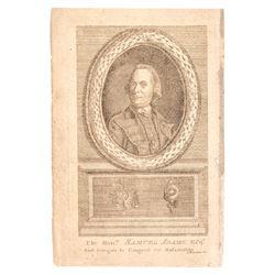 c 1781 Rare Engraving SAMUEL ADAMS, First Delegate to Congress for Massachusetts