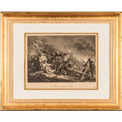 c1842 The Battle at Bunkers Hill, Steel Engraving J.N. Gimbrede, After Trumbull