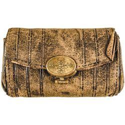 c 1778 Revolutionary War Era Leather Folding Coin Wallet w/Decorative Brass Lock