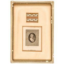 Martha Washingtons Decorative Cloth Dress Swatch Framed with Engraved Portrait
