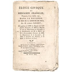 Original Printing of Benjamin Franklins Eulogy 1790 Rare First French Edition
