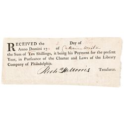 1796-Dated Document Receipt from the Library Company of Philadelphia