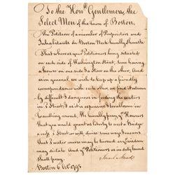 1795 Boston, Washington Street Residents Bridge Building Petition