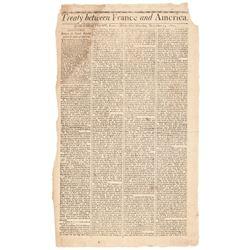 1800 Newspaper - Massachusetts Spy: Treaty between France and America